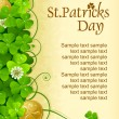 St. Patrick&#039;s Day frame with clover and golden coin - Stock Vector
