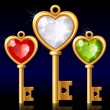 Three golden keys with Jewel heart — 图库矢量图片