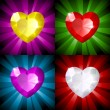 Sparkling background with jewel heart in four colors - Stock Vector