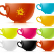 Set of multi-colored of tea cup - Stock Vector