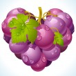 Grapes in the shape of heart — Stock Vector