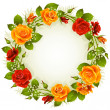 Vector red and yellow rose frame in the shape of circle — Stock Vector