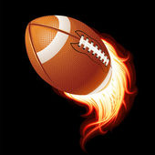 Vector flying flaming American football ball on a black background — Stock Vector