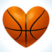 Ball for basketball in the shape of heart — Stock Vector