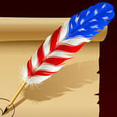 Feather pen in the colors of American flag — Stock Vector