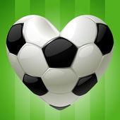 Bal voor voetbal in de vorm van hart — Stockvector