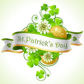 St. Patrick's Day frame with clover and golden coins — ストックベクタ