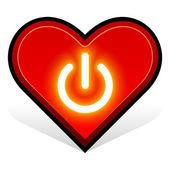 Heart 16. power button — Stock Vector