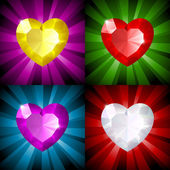Sparkling background with jewel heart in four colors — Stock Vector