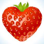 клубника в форме сердца — Cтоковый вектор