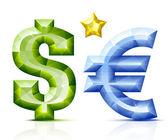 Vector jeweller currency symbols — Stock Vector