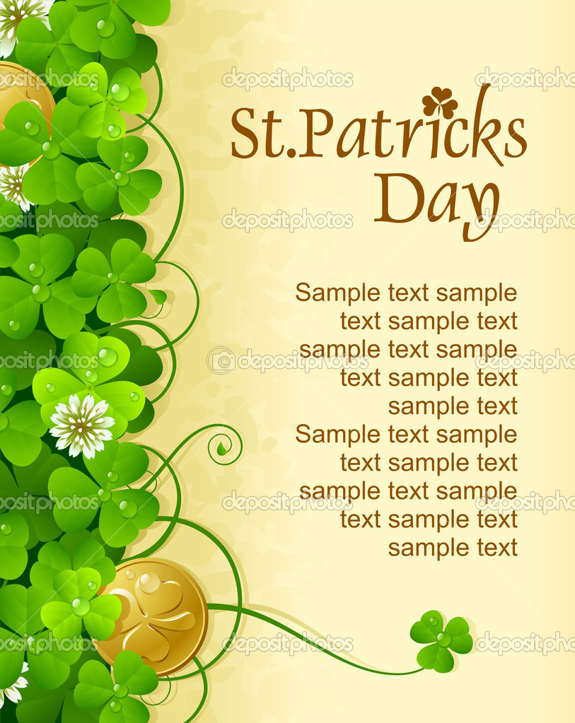 St. Patrick's Day frame with clover and golden coin — Stock Vector #9466976
