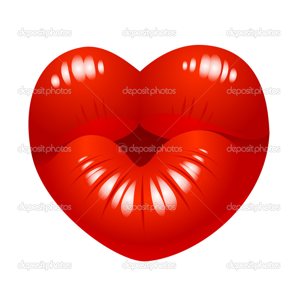 Kiss print in the shape of heart — Stock Vector #9468111