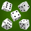White rolling dice set. Vector icon — Stock Vector