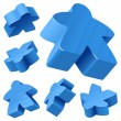 Blue wooden Meeple vector set isolated on white. - Stock Vector