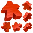 Red wooden Meeple vector set isolated on white. - Stock Vector