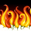Pepper chilli background in the shape of fire. - Stock Vector