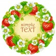Vector strawberry circle frame. Red berry and white flower — Imagen vectorial