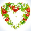 Vector strawberry frame in the shape of heart — Imagens vectoriais em stock