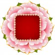 Vector pink Rose circle frame with pearl necklace — ストックベクタ