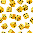 Vector yellow dice seamless background — Imagen vectorial