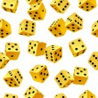 Vector yellow dice seamless background — Imagens vectoriais em stock
