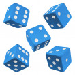 Blue rolling dice set. Vector icon - Stock Vector