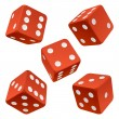 Red rolling dice set. Vector icon - Stock Vector
