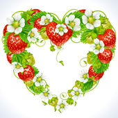 Vektor Erdbeere Rahmen in Form von Herzen — Stockvektor
