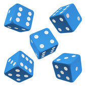 Blue rolling dice set. Vector icon — Stock Vector