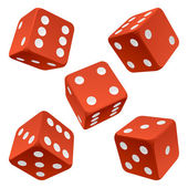 Red rolling dice set. Vector icon — Stock Vector