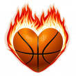 Basketball on fire in the shape of heart — Stock Vector