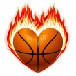 Stock Vector: Basketball on fire in the shape of heart