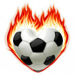 Football on fire in the shape of heart — Stock Vector
