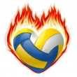 Volleyball on fire in the shape of heart — Stock Vector