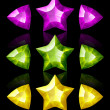 Jewelry icons of stars and arrows: violet, green, yellow — Stock Vector