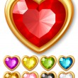 Jewel hearts — Stock Vector