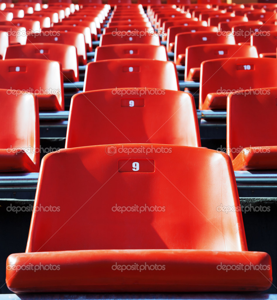 Empty red seats in a stadium, outdoor — Stock Photo #8080356