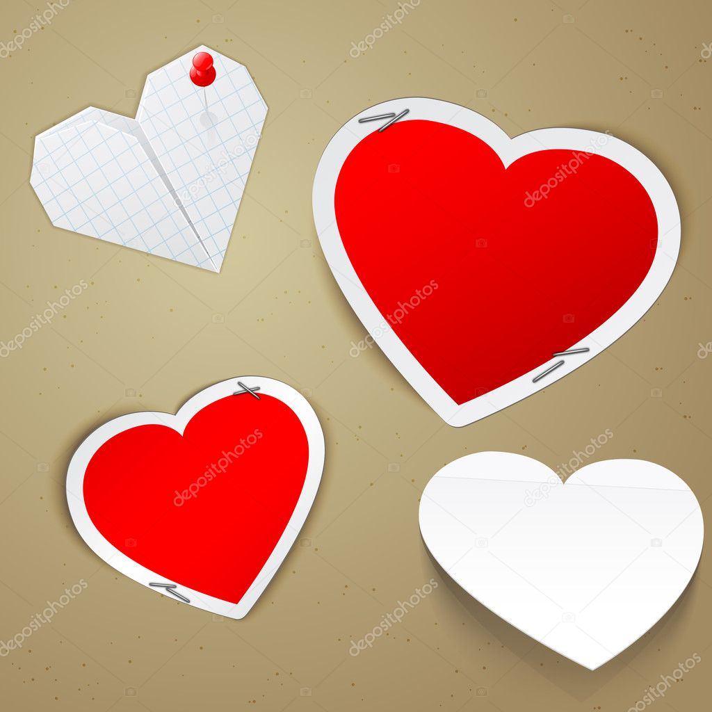 Vector illustration of four hearts. Valentines day greeting card elements  Stock Vector #8764642