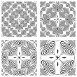 Op art monochromatic patterns 3 — Stock Vector