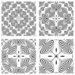 Op art monochromatic patterns 3 — Stock Vector