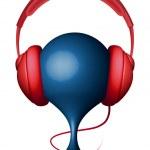 Headphones on support — Stock Vector