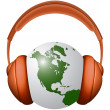 Headphones and earth — Stock Vector