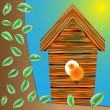 Birds house on a tree — Imagen vectorial