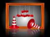 Under construction cones — Stock Vector