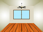 Empty room with window and lamp — Stock Vector