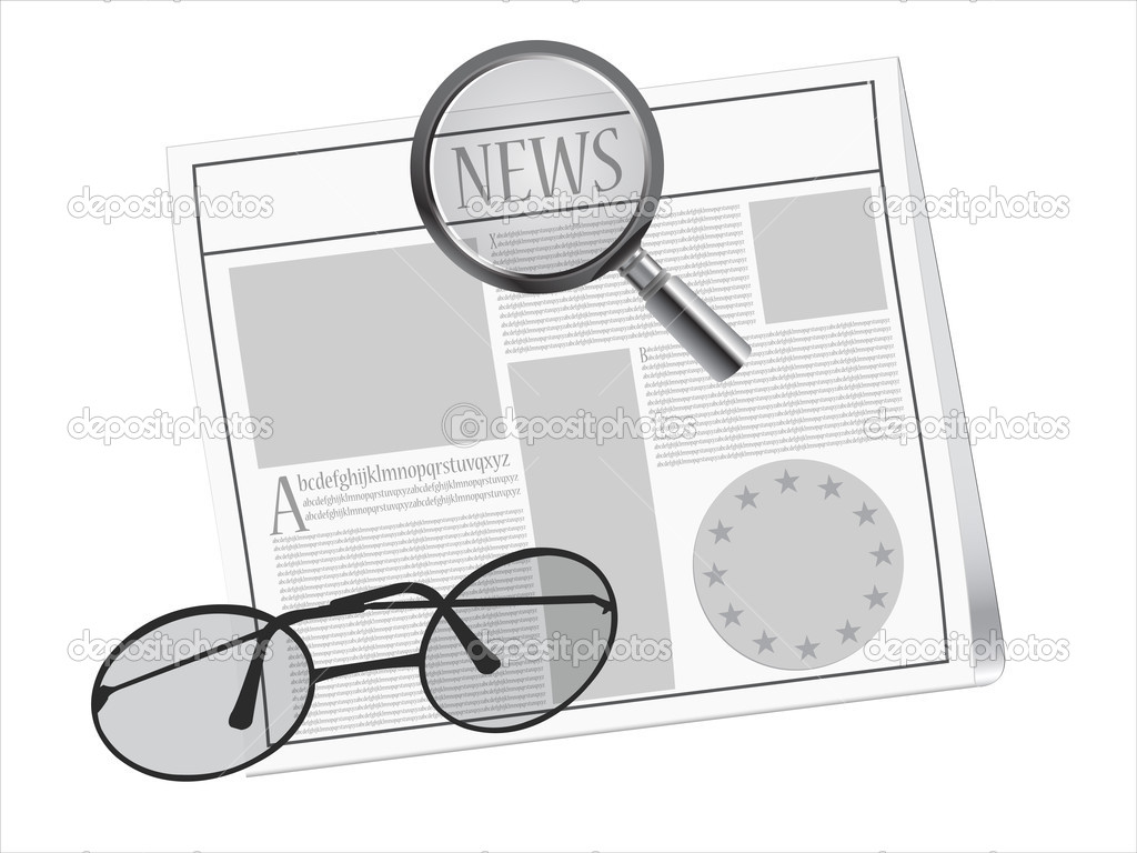 Newspaper, magnifying glass  and glasses, abstract vector art illustration; image contains transparency  Stock Vector #8995363