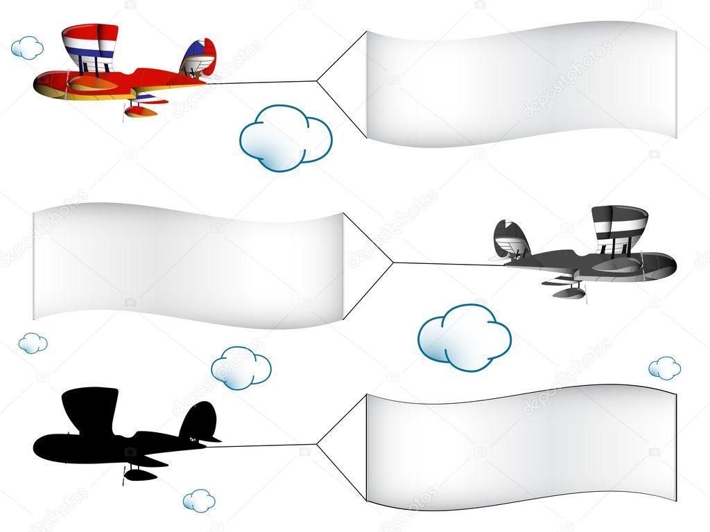 Cartone animato aerei con striscioni — vettoriali stock
