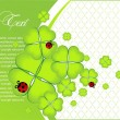 Vector ornate greeting card with clover - Imagen vectorial