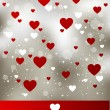 Floral valentine card with red heart — Stock Vector